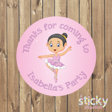 Personalised Birthday Party Stickers - Ballerina Theme